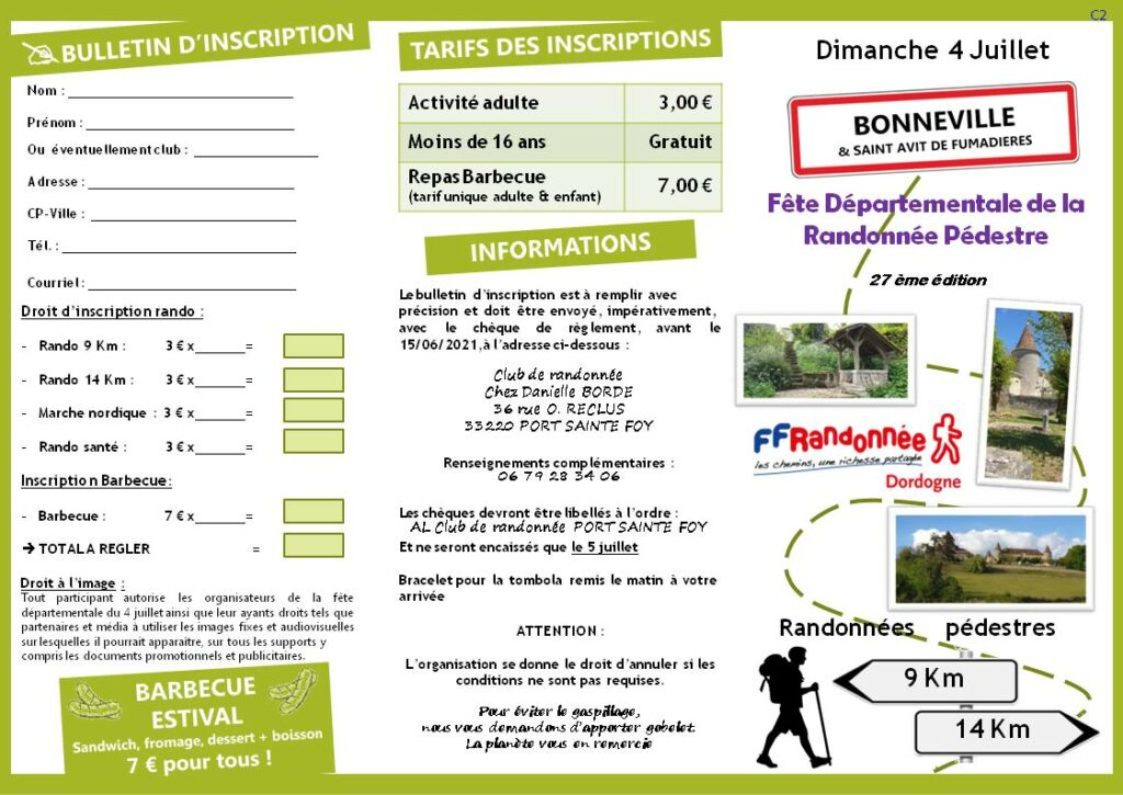 Bulletin Fête Départementale 2021