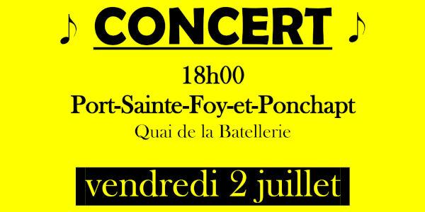 Affiche Concert Juillet - Fond Jaune - 600x300