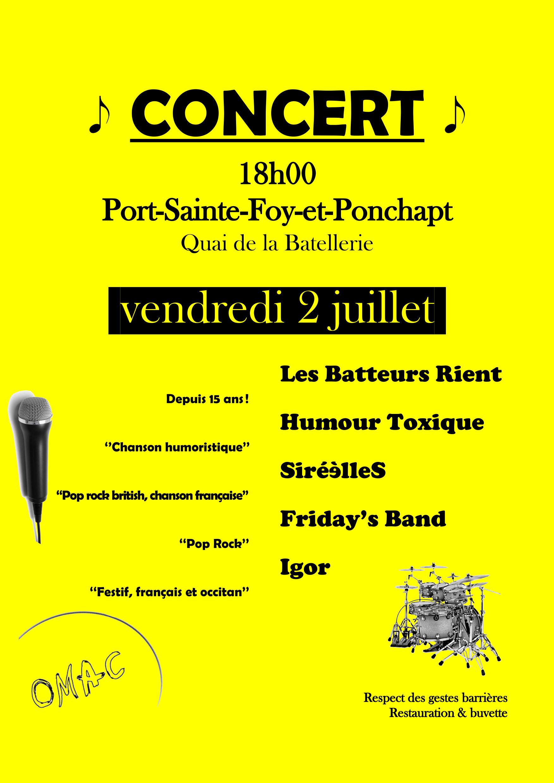 Affiche concert juillet - fond jaune